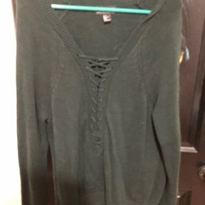 Lace Up Green Sweater